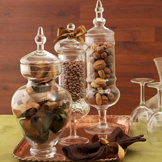 Apothecary Jars with Acorns, Beans, Nuts, etc for Fall Decorating