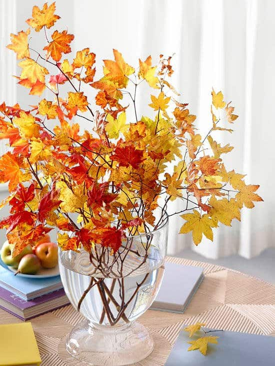 Fall Leaves Branches Vase - Fall Decor
