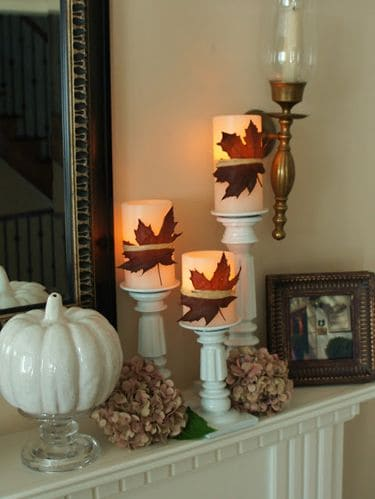 Easy Fall Decor - Autumn Leaves Wrapped Around Candles