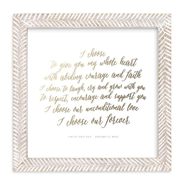 Gorgeously illustrated custom wedding vows print