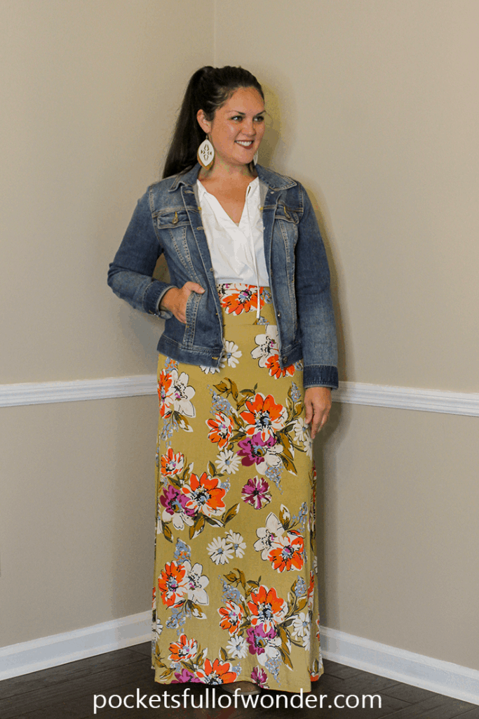 Floral Maxi Skirt with White Blouse and Denim Jacket