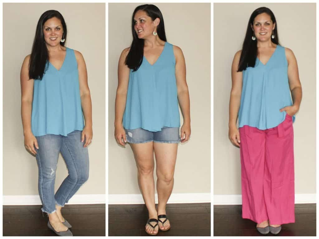 Le Tote Review - blue sleeveless blouse with jeans, shorts, and pink pants