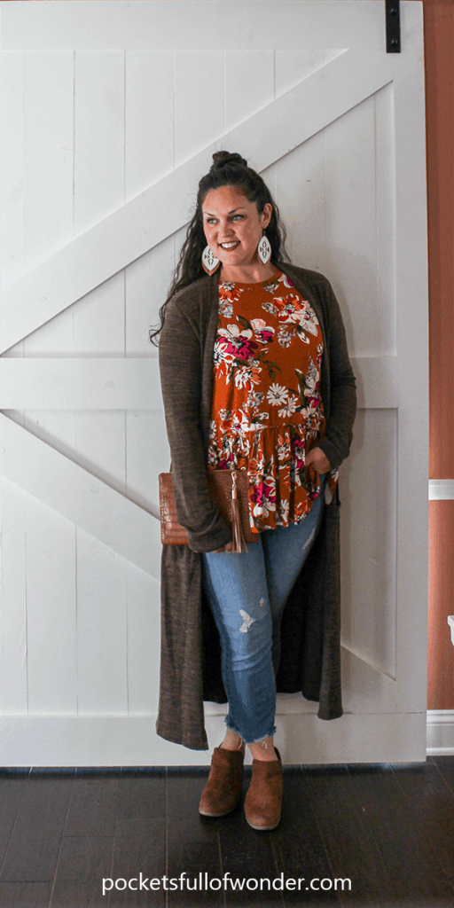 Cute Fall Outfit: Floral Top, Distressed Jeans, Duster Cardi, Booties, Statement Earrings