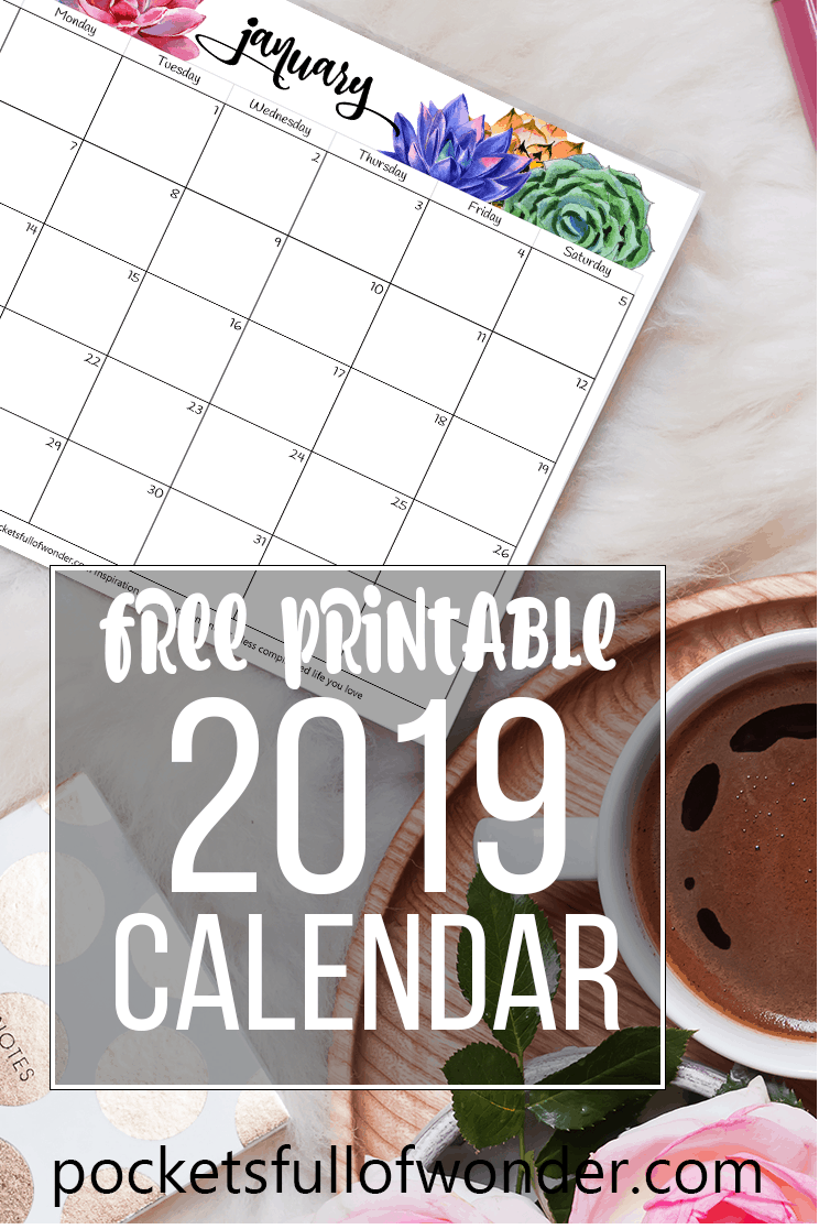 2019 Printable Calendar with Water Color Succulent Design