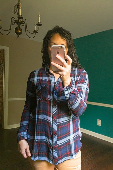 October Wantable Style Edit Review - Plaid Button Down Shirt in Blue, Red, White