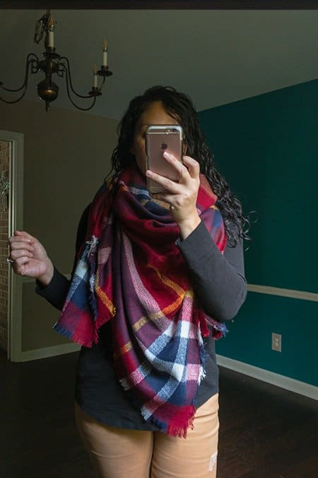 October Wantable Style Edit Review - Blanket Scarf in navy, red, white, and yellow