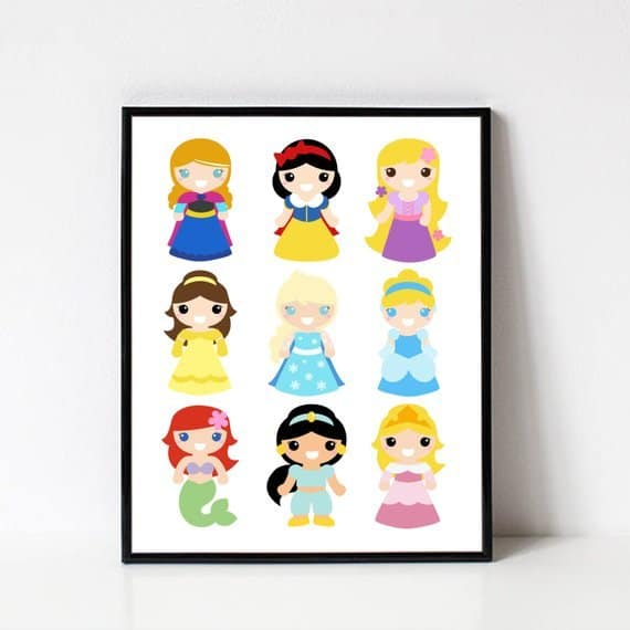 So cute! Disney Princess Printable Wall Art for a little girl's bedroom!