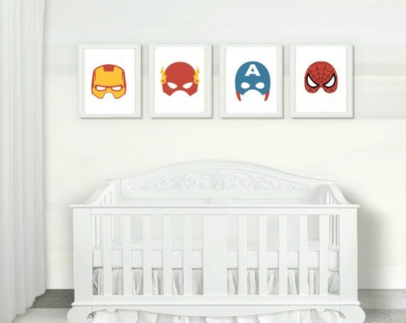 Amazing! Avengers masks printable wall art for a kids room or nursery