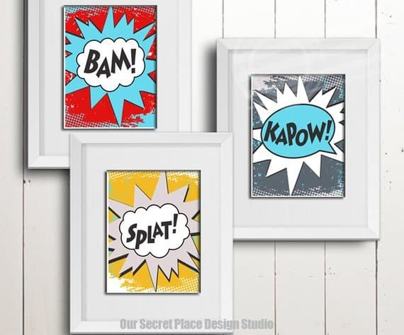 Amazing! This printable wall art is PERFECT for a comic book or superhero themed kids room!