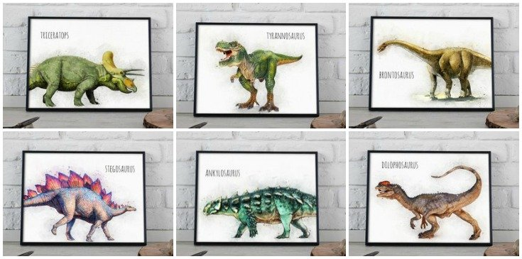 Amazing Wall Art Printables - Dinosaurs for Kids Room