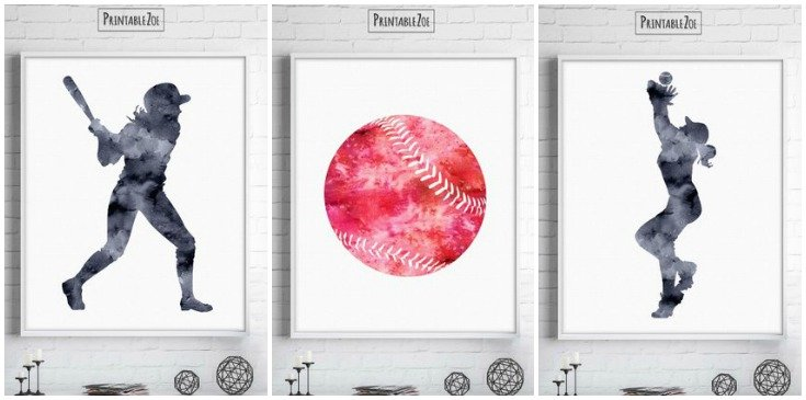 Awesome! Softball printable wall art with watercolor effect