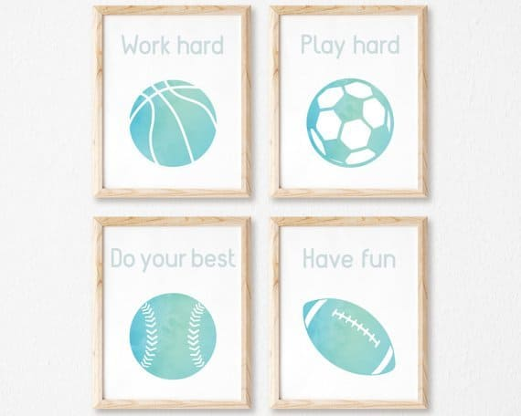 Amazing! Minimalistic sports themed kids room or nursery printables.