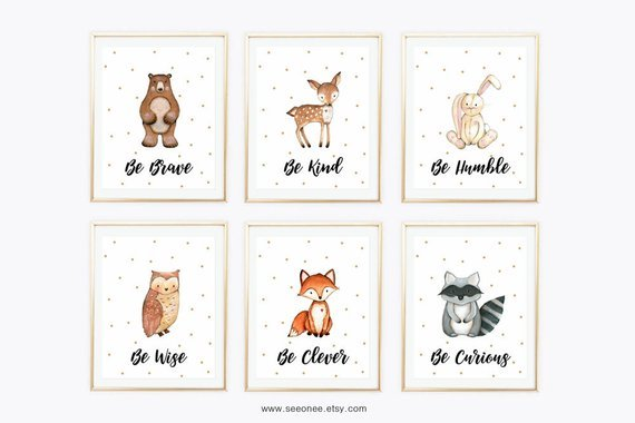 How cute! Woodland animals printable wall art for kids room or nursery