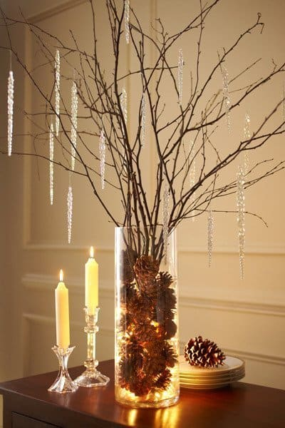 Simple Fall Decor - Branches and Twigs in a Clear Vase