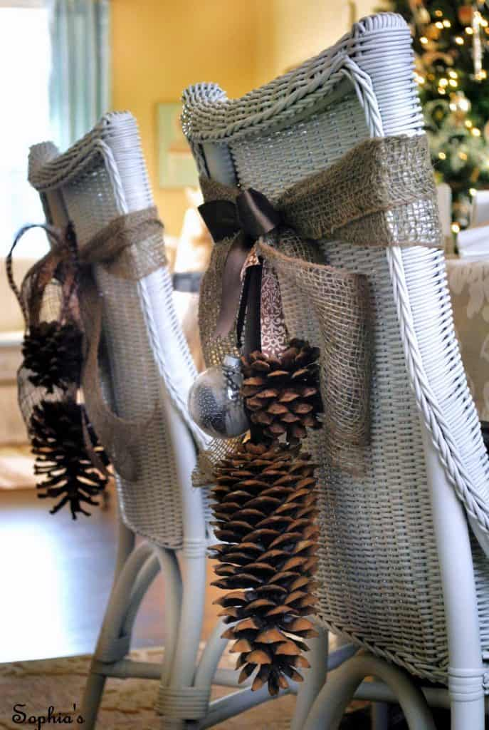 Easy Pine Cone Clusters on Chairs - Stylish Fall Decor
