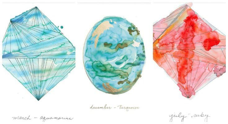 Gorgeously illustrated birthstone fine art prints
