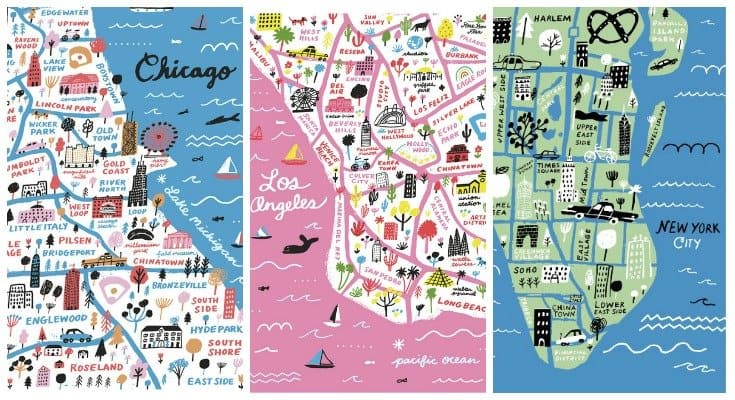 Gorgeous handdrawn map prints
