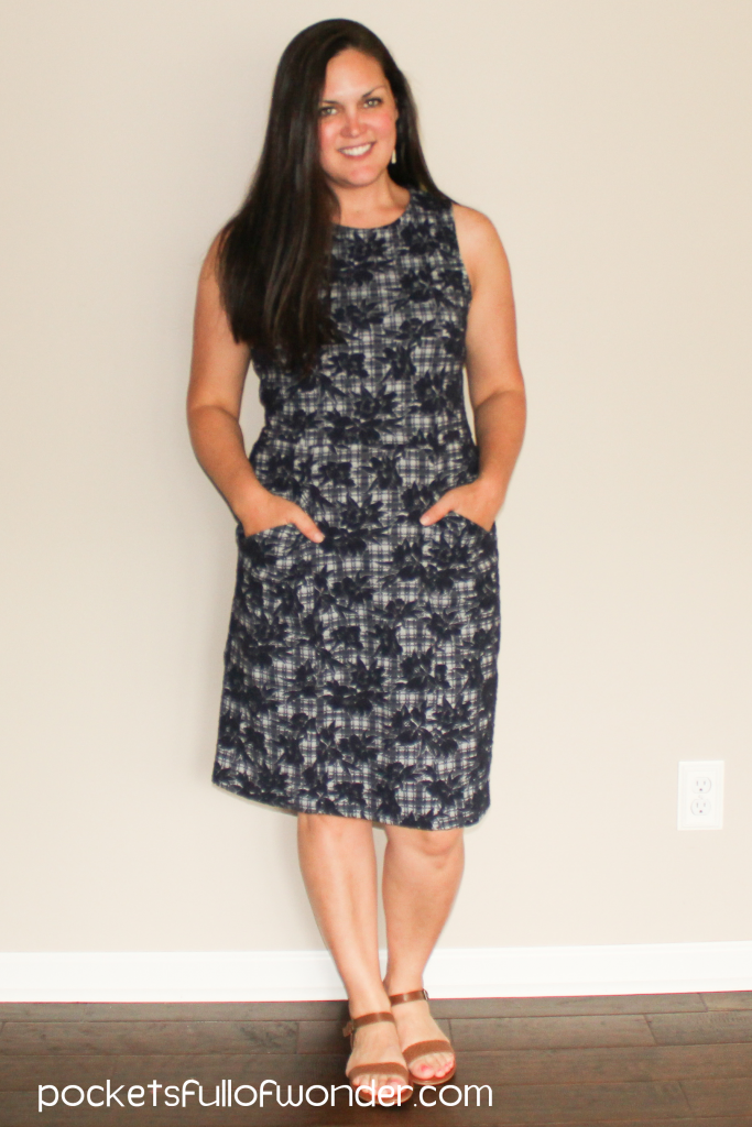 Stitch Fix Blue Floral Plaid Sleeveless Sheath Dress with Pockets