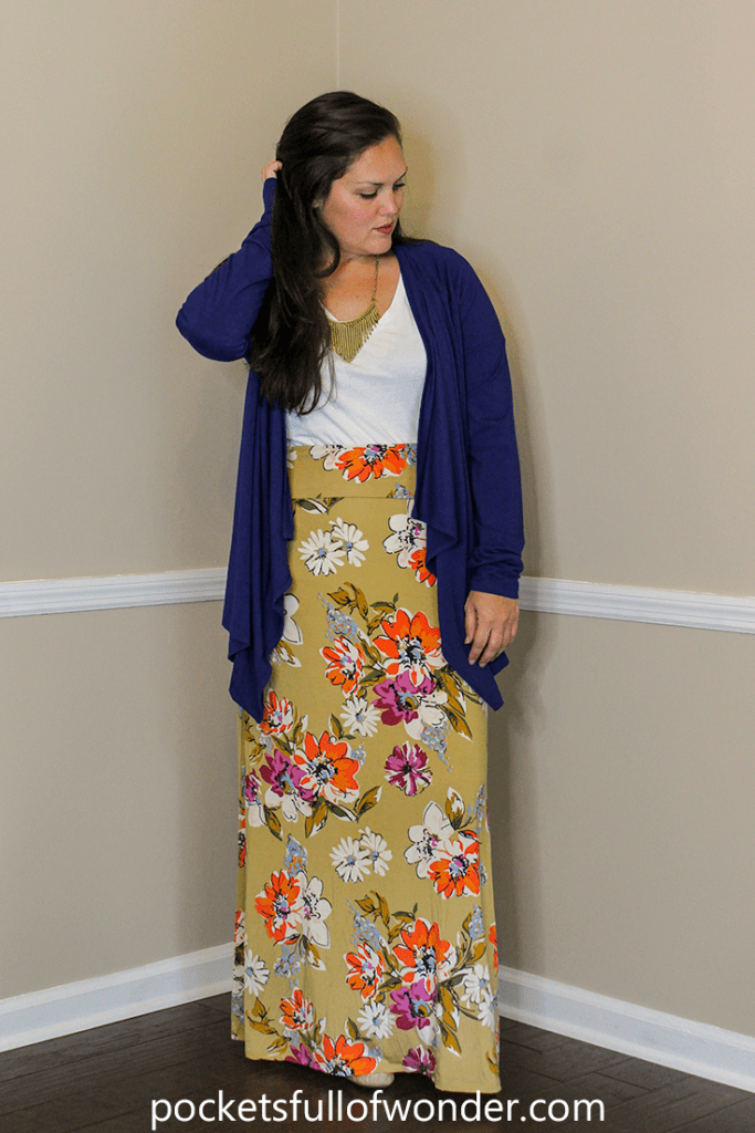 Floral Maxi Skirt with White T-Shirt and Flowy Cardi and Statement Necklace