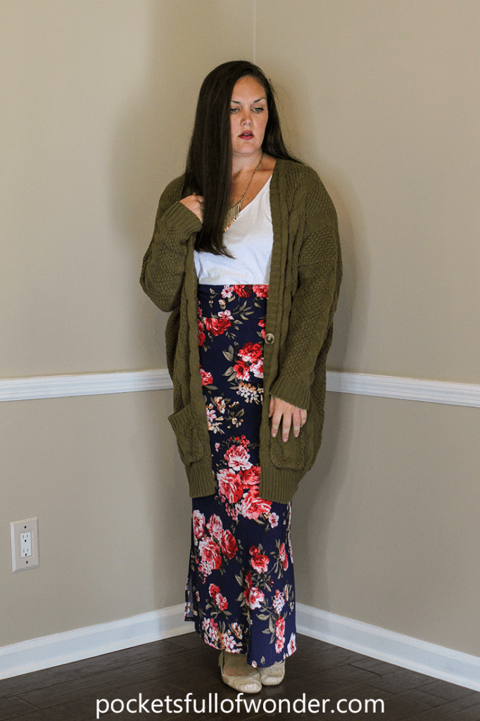 Floral Maxi Skirt with White T-Shirt and Over-sized Cardi and Statement Necklace