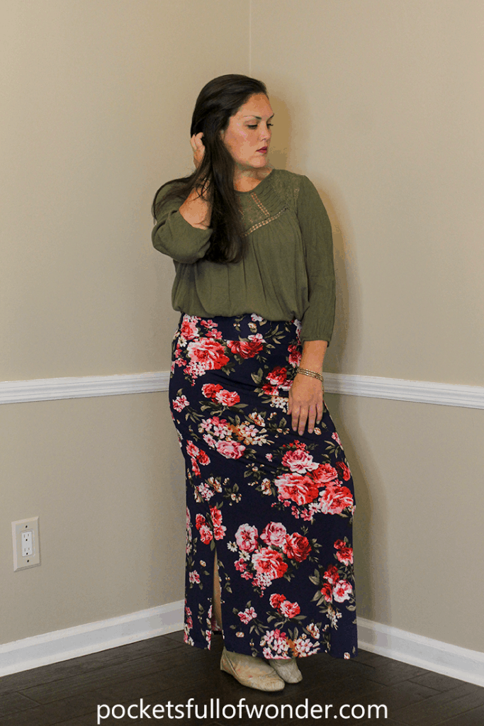 Floral Maxi Skirt with Peasant Top and Bangles