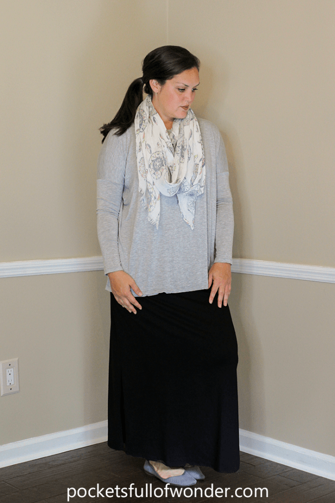 Black Maxi Skirt with Boxy Top and Patterned Scarf