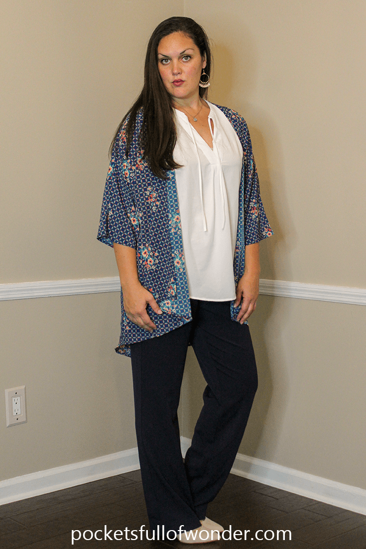 Business Professional Look | How to Style a Kimono with Dress Pants