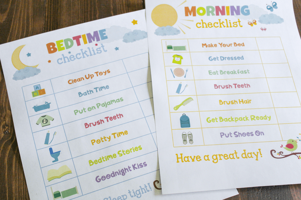 Organization for Moms - Kids Daily Routine Charts