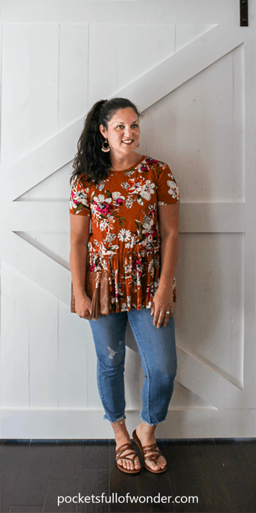 Cute Summer Outfit: Floral Top + Distressed Jeans + Strappy Sandals