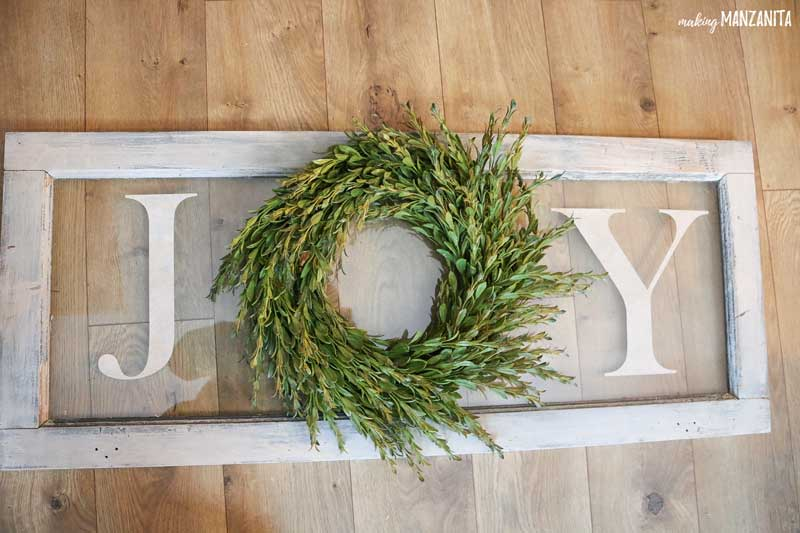 Easy and Affordable Last Minute Christmas Decor: DIY Joy Sign with Wreath