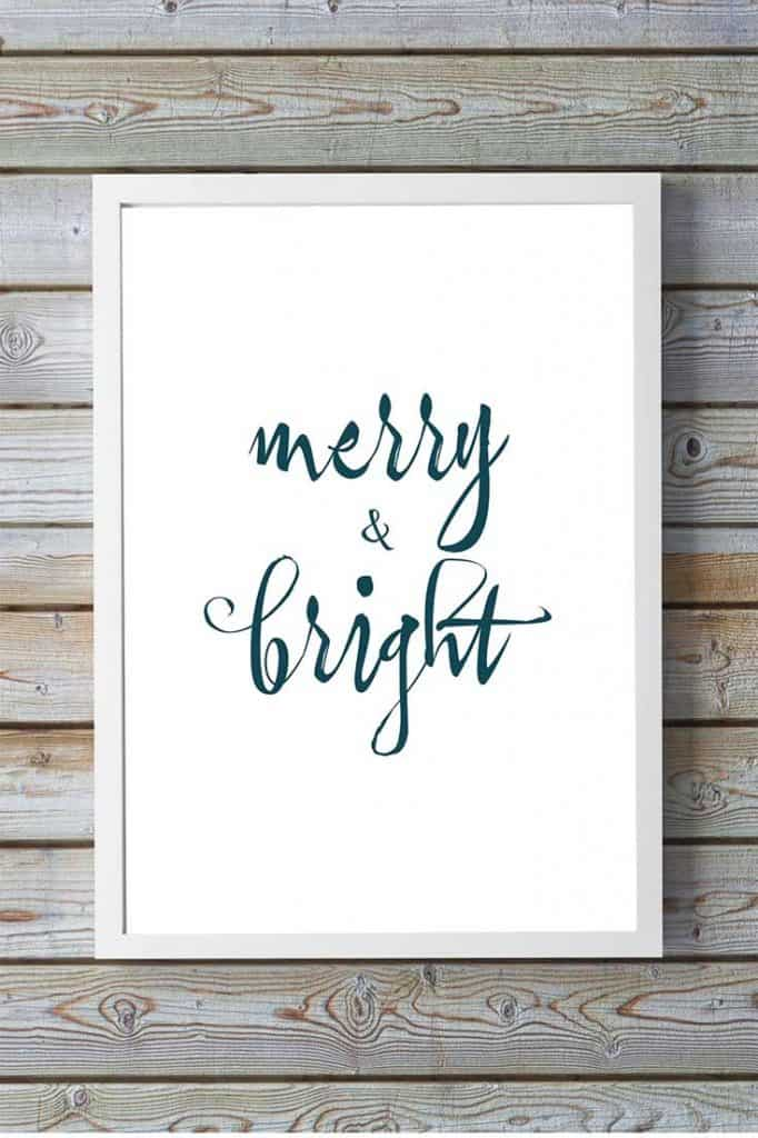 Free Christmas Quote Printable - Merry & Bright