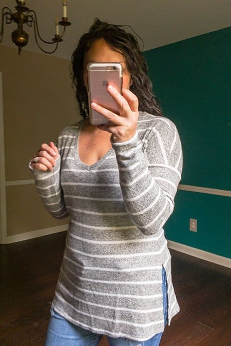 October Wantable Style Edit Review - Gray and White Striped Side Slit Sweater