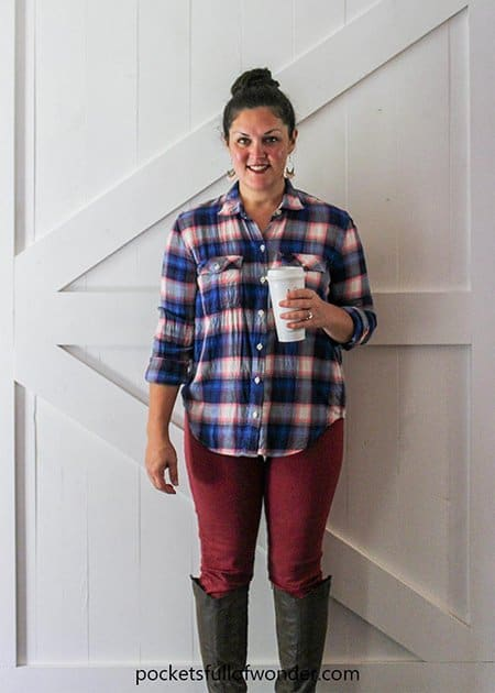Plaid Shirt Outfits with Colored Jeans