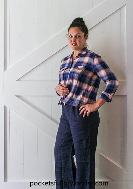 Dressy/Casual Outfit with Plaid Shirt and Wide Leg Pants