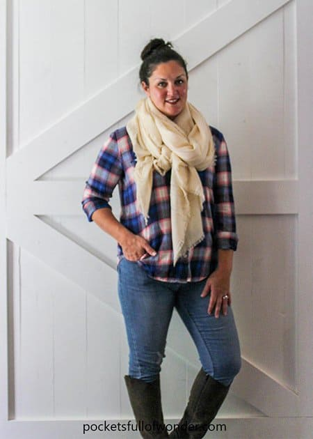 Cute Fall Outfit Idea with a Plaid Shirt, Distressed Jeans, and Blanket Scarf