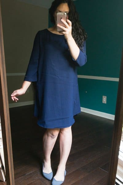 October Trunk Club Review Blue Crepe Shift Dress