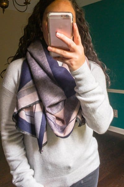 October Trunk Club Review - Pink and Navy Geometric Design Blanket Scarf