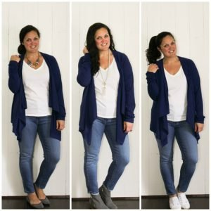 One Outfit Three Ways: White Tee + Blue Cardi