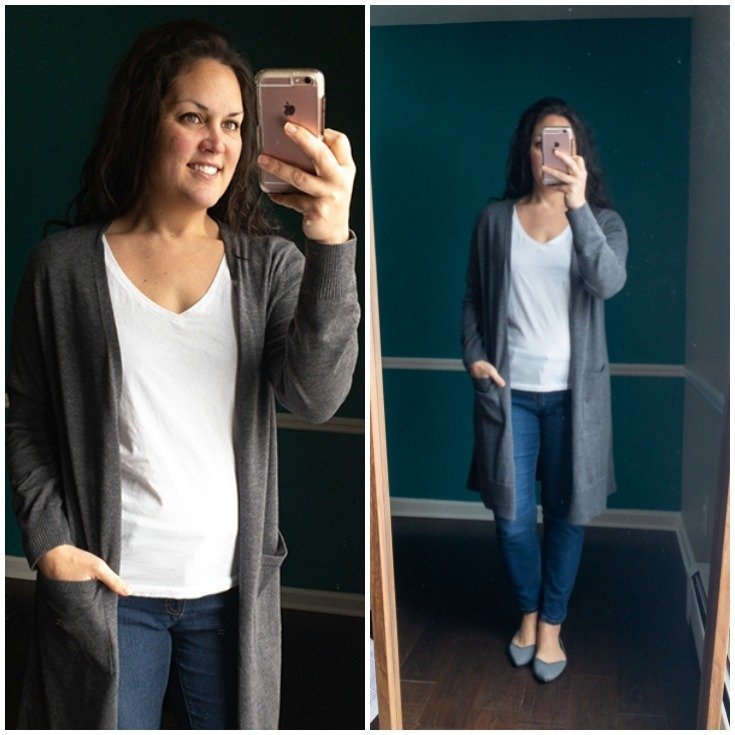 Longer length gray cardigan with pockets.