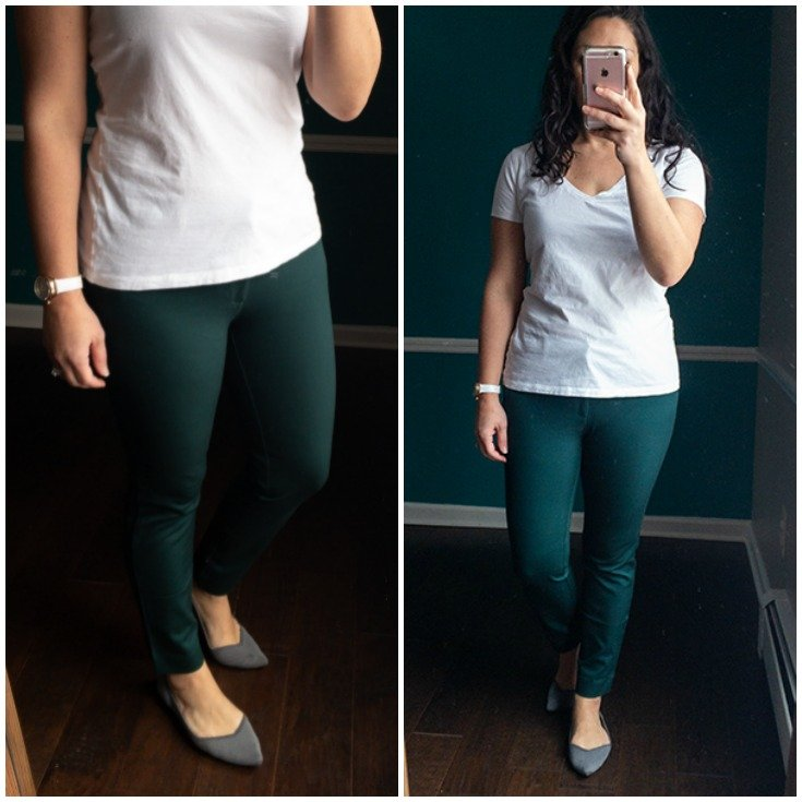 Dark green bi-stretch ankle pants