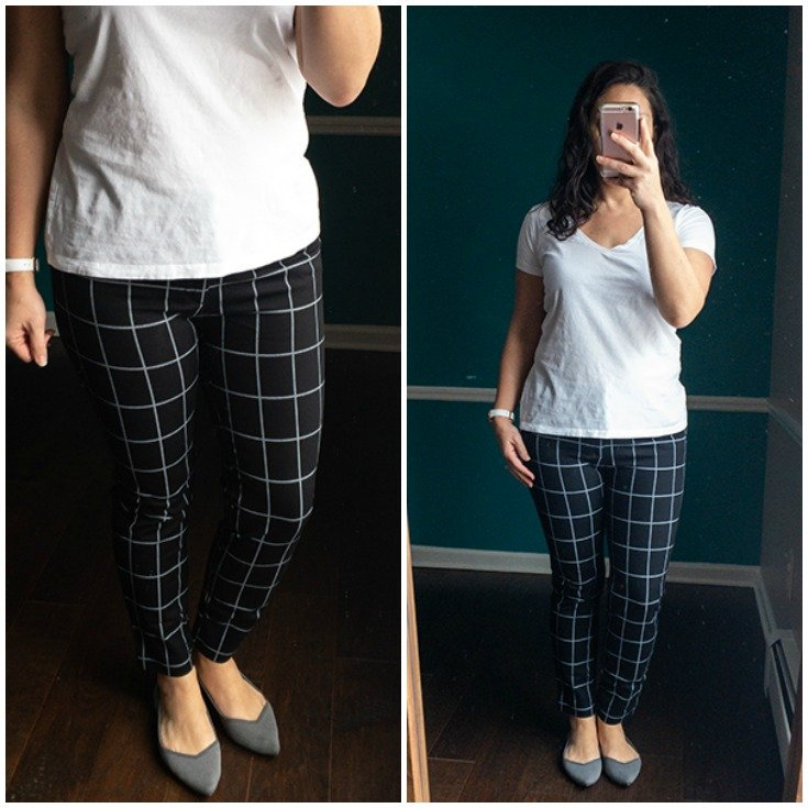Black and white window pane plaid pants