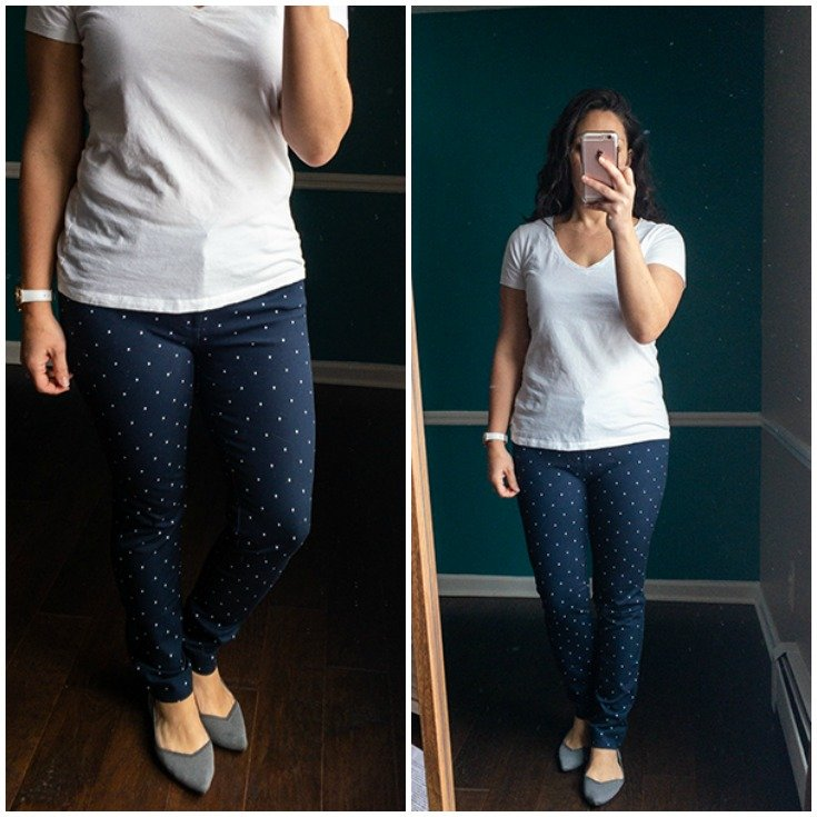 Bi-stretch ankle pants in polka dot pattern