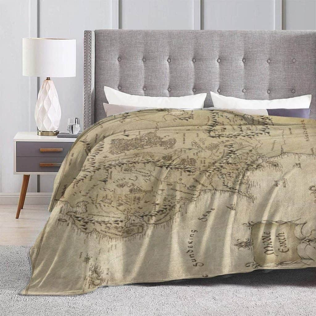 This cozy Middle Earth Map Blanket is the perfect gift for Lord of the Rings fans.