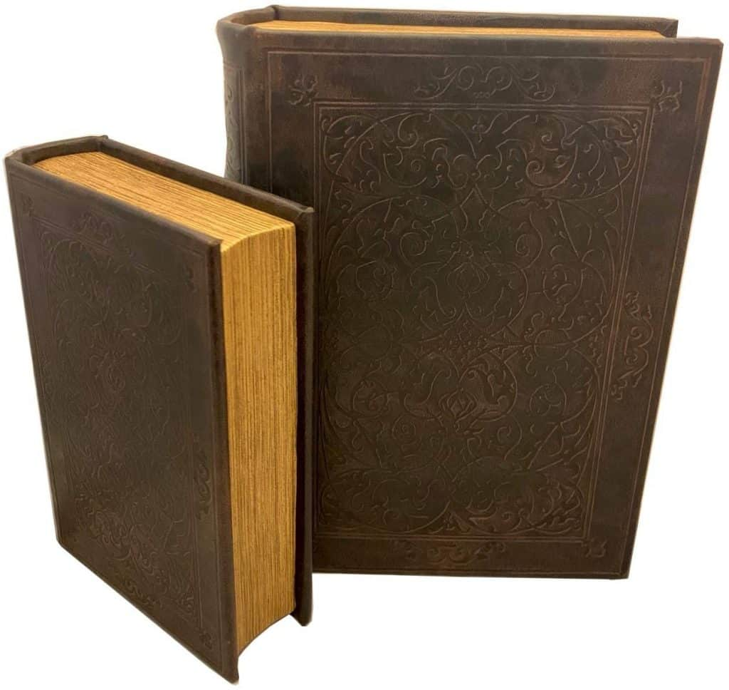Secret box disguised as a leather bound book.
